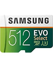 $64 » SAMSUNG EVO Select 512GB microSDXC UHS-I U3 100MB/s Full HD & 4K UHD Memory Card with Adapter (MB-ME512HA)