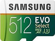 SAMSUNG EVO Select 512GB microSDXC UHS-I U3 100MB/s Full HD & 4K UHD Memory Card with Adapter (MB-ME51