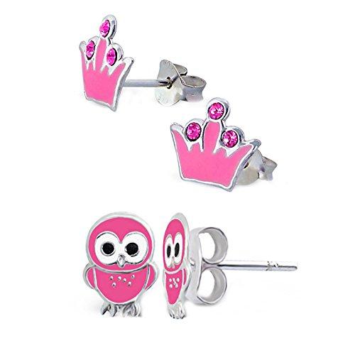 SL Silver Juego de kinderohr anillos Corona búho y color rosa 925plata en caja de regalo