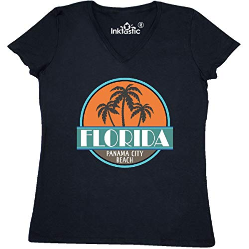 inktastic - Panama City Beach Florida Women's V-Neck T-Shirt X-Large Black 31f36