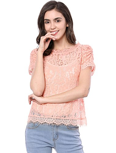 Allegra K Women's Scalloped Trim See Through Semi Sheer Floral Lace Top Pink XL (US 18) ()
