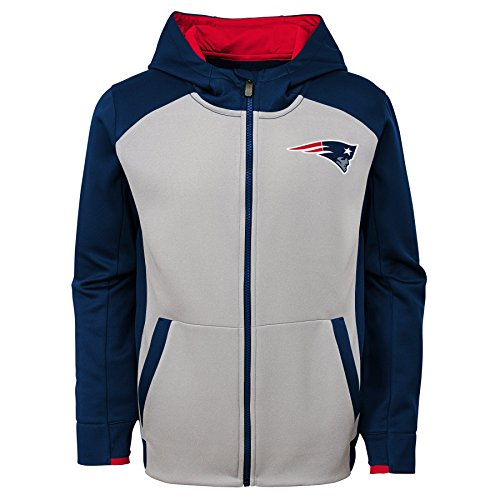 Outerstuff NFL New England Patriots Kids & Youth Boys Hi Tech Performance Full Zip Hoodie, Dark Navy, Kids Medium(5-6)