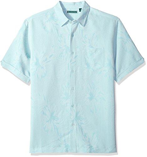 Cubavera Men's Short Sleeve Tonal Floral Jacquard Woven Shirt with Pocket, Porcelain, XX-Large