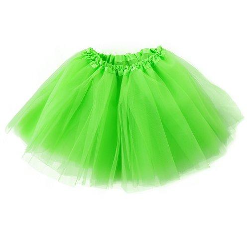 Girls Green Organza Tutu (Women's Classic 3-layered Tulle Tutu Ballet Skirts Ruffle Pettiskirt for Customes Cosplay Dress up)