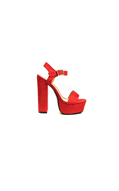 53d7b5a706f86f Ikrush Womens Alexi Strappy Platform Block Heels Red  Amazon.co.uk ...