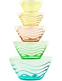 Acquisition All Purpose Glass Bowl and Food Storage Containers 10 Pcs Set - Glass Lunch Bowls Set with Snap Tight Lids (Wave... save