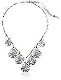 "1928 Jewelry Vine Filigree Teardrop Collar Necklace, 16"" + 3"" extender"
