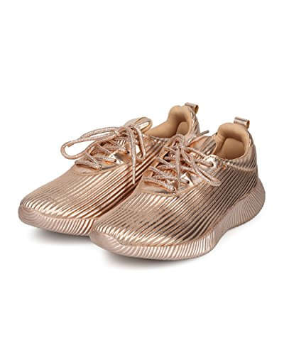 Alrisco Women Lace Up Textured Low Top Jogger Sneaker - HF81 by Wild Diva Collection Rose Gold Metallic NXFax