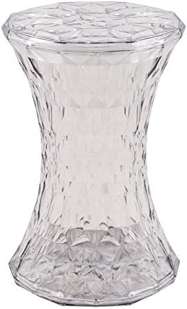LeisureMod Clio Modern Diamond Shape Transparent Plastic Clear End Table
