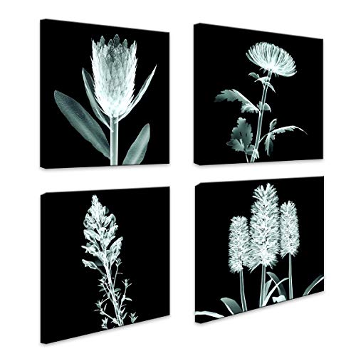 Canvas Wall Art Black Background 4 Panel Wall Decor Modern Flowers Pictures Print on Canvas Wall Art for Living Room Bedroom Office Bathroom Home Decorations Stretched and Framed Floral Giclee Artwork ()