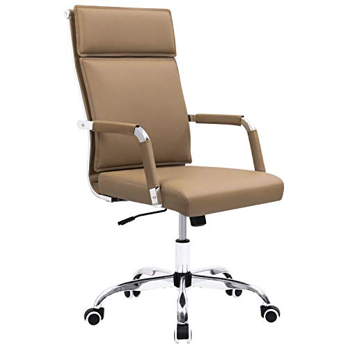 Homall Office Desk Chair Mid-Back Computer Chair Leather Executive Adjustable Swivel Task Chair Conference Chair with Armrests (Brown)
