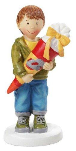 Einschulung: Tischdeko, Junge mit Schultüte, Kunststein, ca. 85 mm