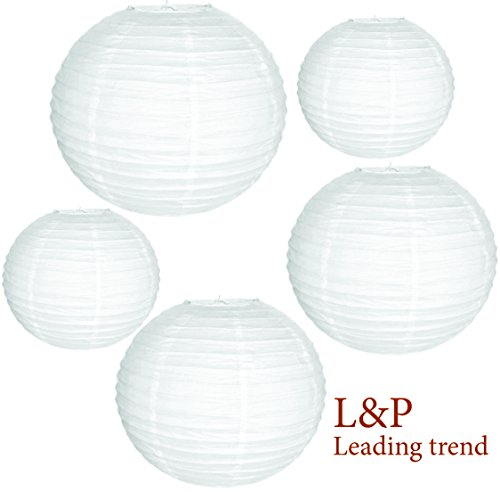 Charmed White Paper lanterns in Assorted size 9, 8 and 6 inches (5 pk) ()
