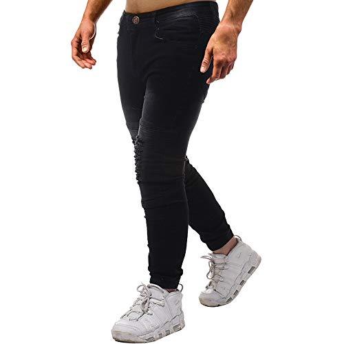 Uomo Da Traforati In Nero Cotone Strappati Jeans Fori Lavoro Jiameng Con Pantaloni Skinny Casual Di ZtRwxUBq