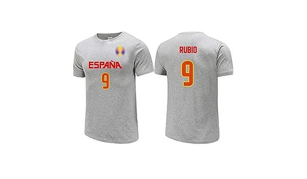 Ricky Rubio No.9 España de la camiseta, jerseys, / alta elasticidad / ocasional de la camiseta unisex respirable de los hombres, 2019 Selección Nacional Copa del Mundo de Baloncesto gris,XXL(185~182)CM: Amazon.es: Hogar
