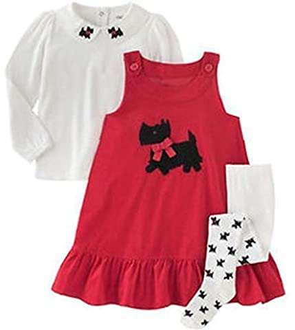 Gymboree Girls Red Corduroy Jumper Dress (3, Red) - Corduroy Jumper Dress Set