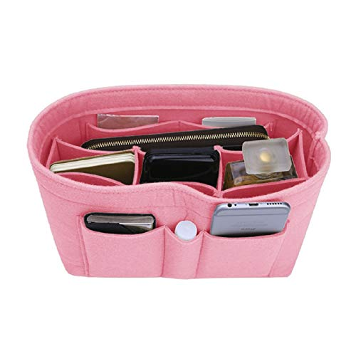 Felt Insert Bag Organizer Bag In Bag For Handbag Purse Organizer, Six Color Three Size Medium Large X-Large (Medium, Light Pink)