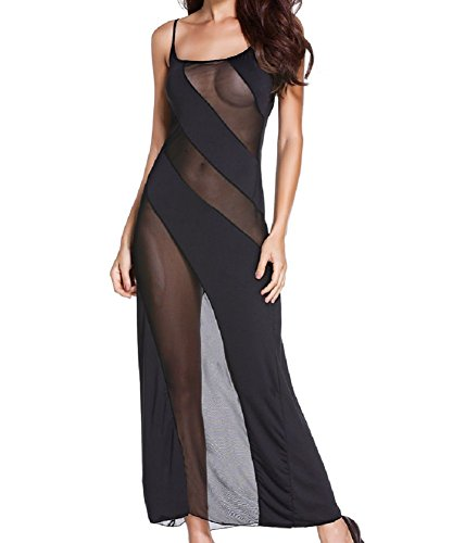 Embryform Lady See Through Bias-cut Mesh Illusion Cross Sexy Lingerie Gown
