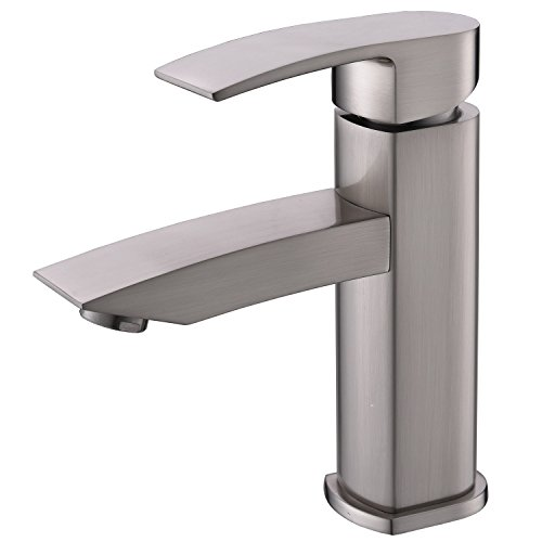 Hotis Modern Single Handle One Hole Vanity Lavatory Solid Brass Bathroom Sink Faucet, Bathroom Faucet Brushed Nickel Finish (Handle One One Hole)