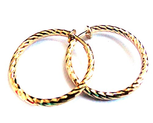 Clip on Earrings 1 inch Hoop Gold Or Silver Plated Textured Hoops Non Pierced (gold) (Small Hoop Non Pierced Earrings)