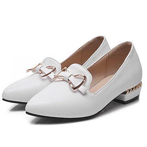 VogueZone009 Damen Ziehen auf Niedriger Absatz PU Leder Eingelegt Spitz Zehe Pumps Schuhe Weiß