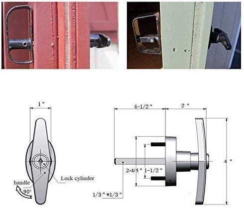 [Gesponsert]T-Griff Schloss Kit Schuppen Türschloss mit 3 Schlüsseln und 4 Schrauben, 4-1 / 2