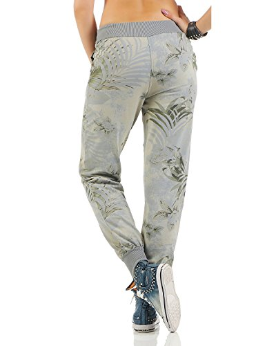 Tempo Fit Pantaloni Donna Sportivi Chiaro Jogging Jungle Pantalone Libero Zarmexx Di Grigio Relax Stampa Cotone Pant Da Felpa z7BzRfX