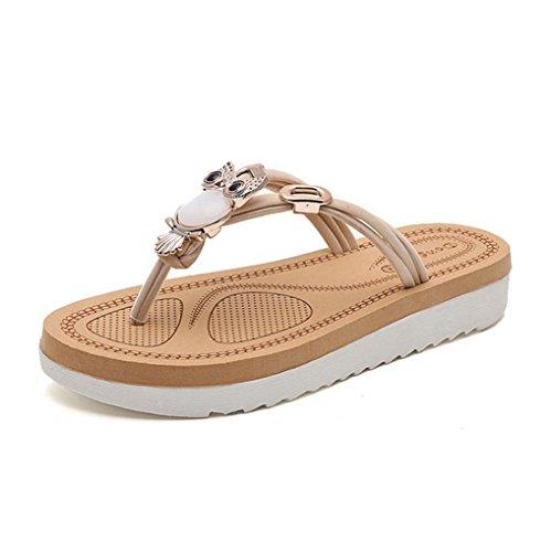 DM&Y 2017 plana plana del dedo del pie del clip de verano con sandalias de diamantes de imitaci¨®n de perlas y zapatos de las sandalias de los deslizadores de la playa owl white