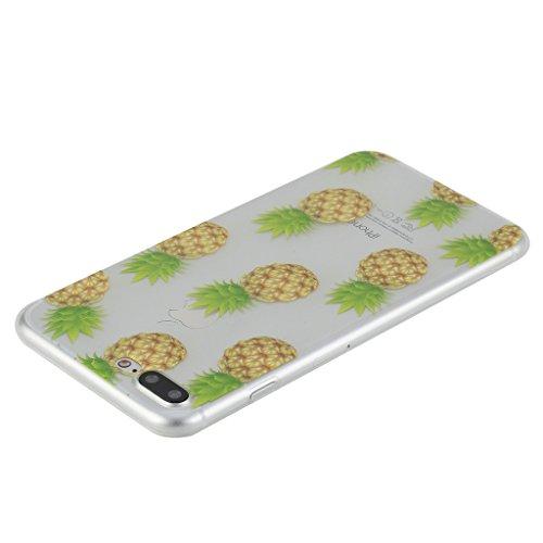 iPhone 7 Plus Carcasa Cover, IJIA Ultrafino Transparente Pantalla Completa Piña TPU Silicona Suave Funda Case Tapa Caso Parachoques Cubierta para Apple iPhone 7 Plus (5.5) + 24K Etiqueta Engomada