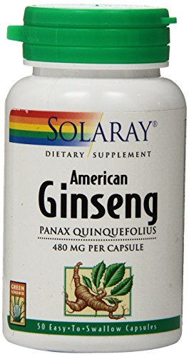 Solaray American Ginseng Root Capsules, 480 mg, 50 Count (Capsules Ginseng 50)