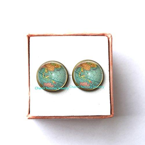 World Map Stud Earrings - Globe Earrings - Blue Map Jewelry - Atlas Earrings - Adventure Jewelry - Gift for Travelers - Post Earrings from Charm holiday jewelry