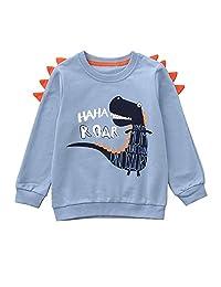 Matoen Children Boys Girls Cartoon Dinosaur Letter Printed Sweater Top
