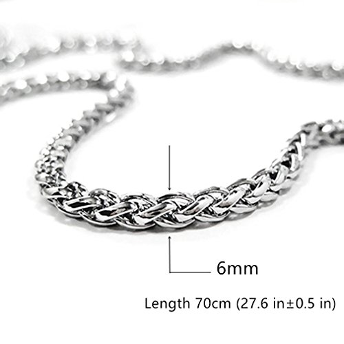 Calors Vitton 6mm Thick Cuban Curb Link Chain Stainless Steel Necklace for Men 28 inches