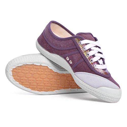 Kawasaki scarpe donna tela DEV04 viola / quadretti