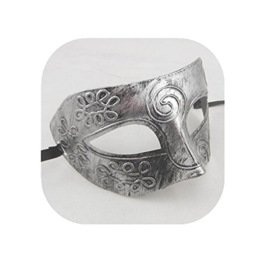 Cosplay Retro Greek Roman Gladiator Halloween Costume mask Show Party Decoration Props (Silver) -