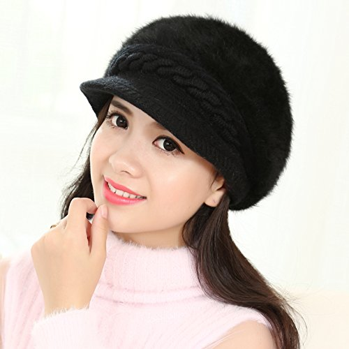 NWEC NEWC Ladies Winter Warm Sweet Ear Thickened Knitting Hat 54-58CM,Black
