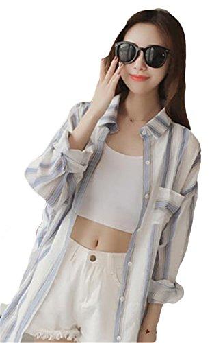 SUNNUY カーディガン レディース Tシャツ 長袖 ポケット付き 春夏 ストライプ 大きいサイズ ゆったり シンプル カジュアル コート UVカット きれいめ 薄手 ロング