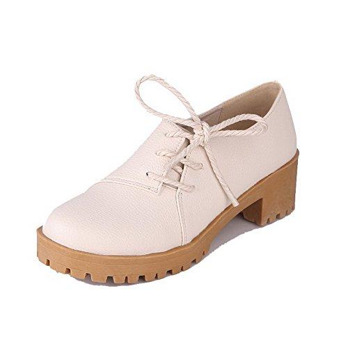 AllhqFashion Womens Solid Kitten-Heels Lace-Up Round-Toe Pumps-Shoes Beige vqqzgU