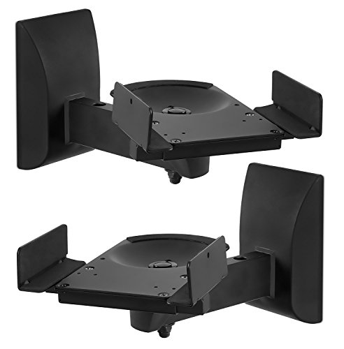 Electronics Tower Wall Entertainment Center (Mount-It! Speaker Wall Mounts, Pair of Universal Side Clamping Bookshelf Speaker Mounting Brackets, Large or Small Speakers, 2 Mounts, 55 Lbs Capacity, Black (MI-SB37))