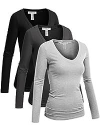 Women's Casual Basic V-Neck Tshirt Long Sleeves Tee Top -...