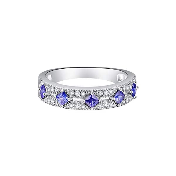 Blue Sapphire /& Cz Antique bezel Eternity Stackable.925 Sterling Silver Ring