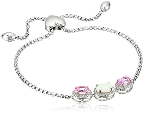 Sterling Silver Three Stone Oval Created Pink Sapphire and Created Opal with White Topaz Accent Bolo Link Charm Bracelet
