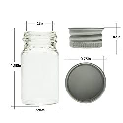Mini Glass Bottles With Aluminum Caps 7ml For Message Bottle Jewelry Accessories 0.24 Ounce Jars Small Bottle by SHXSTORE, Pack of 20