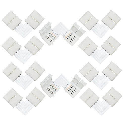 Shaped Track Connector - Liwinting 10pcs L shape 4 pin LED Connector Quick Splitter Right Angle Corner Connector DC 12V 24V Clip Clasp for SMD 5050 RGB LED Strip Lights LED Strip to Strip Adapter (10pcs/pack)