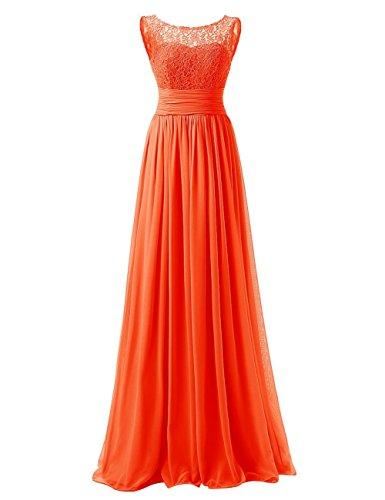 Abiti Chiffon da Donne da damigella sera Arancione Pizzo da lungo ballo Abiti Vestito JAEDEN TqU6FwH
