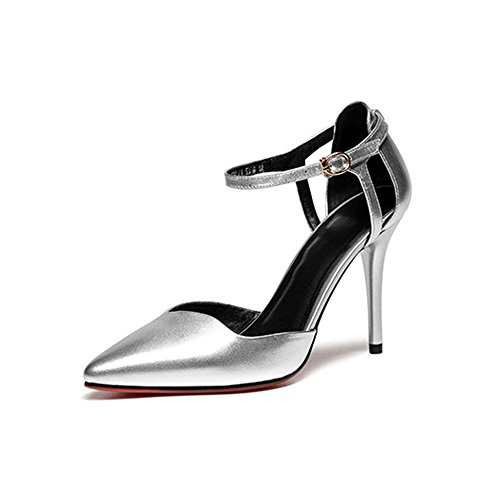 DKFJKI Mode Femmes de Avec Boucle Sandales Véritable pour Chaussures Escarpins Hauts silver Talons Soirée Joker Mode pour Cuir Chaussures Femmes vwqTr0v