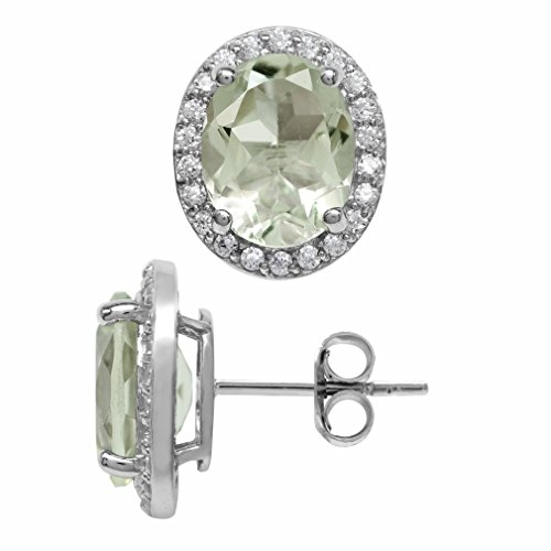 4.56ct. Natural Oval Shape Green Amethyst White Gold Plated 925 Sterling Silver Halo Stud Earrings ()