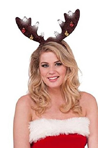 Reindeer Costume Santacon (Rubie's Costume Men's Clausplay Dark Brown Antlers and Ornaments Light-Up Headband, Multi-Colored, One Size)
