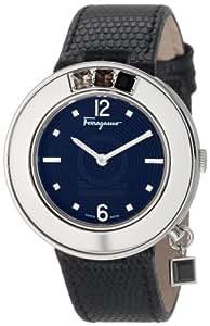 Salvatore Ferragamo Women's F64SBQ9709 S009 Gancino Sparkling Black Genuine Leather with Stones Watch