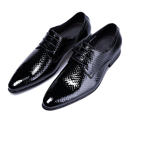 NIUMJ Maschile Appuntito Classico Moda Pizzo Indossabile Comodo Elegante Affari Scarpe di Cuoio Black